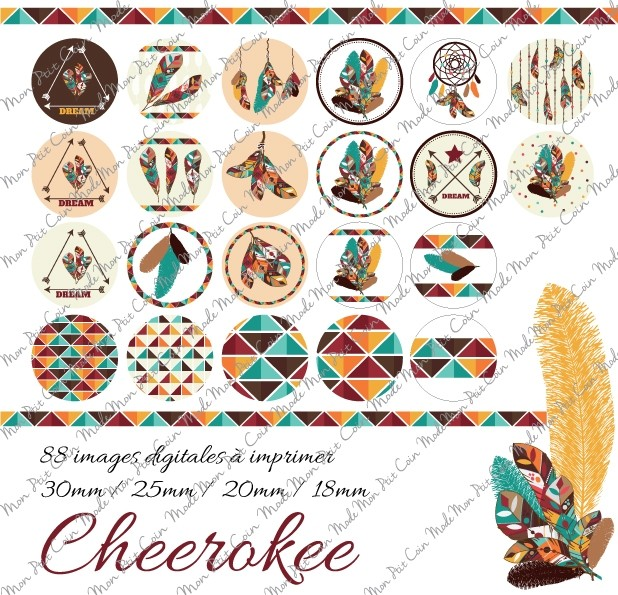 "Images digitales pour cabochons rond "" CHEEROKEE"" (88 images)"