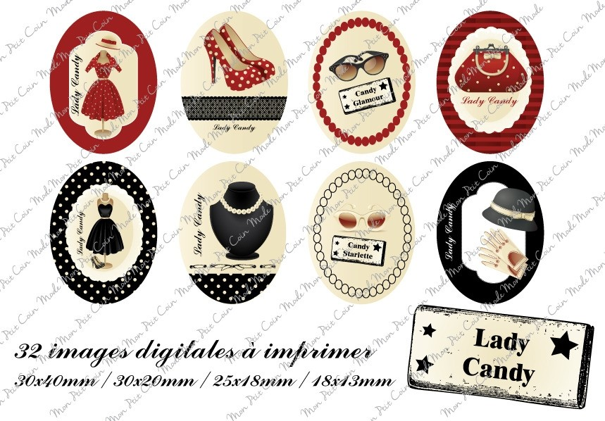 "Images digitales pour cabochons Oval "" LADY CANDY  "" (32 images)"