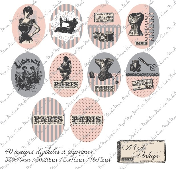 "Images digitales pour cabochons Oval "" MODE VINTAGE  "" (40 images)"