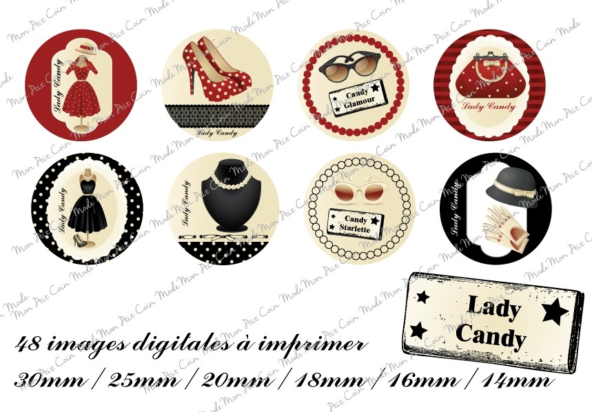 "Images digitales pour cabochons Rond "" LADY CANDY  "" (48 images)"